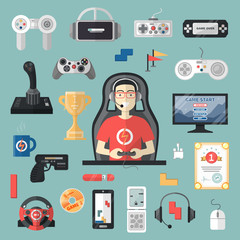 Gamepad vector gamer playing gameplay and player character gaming videogame with joystick or game-console illustration set of game gadgets isolated on background