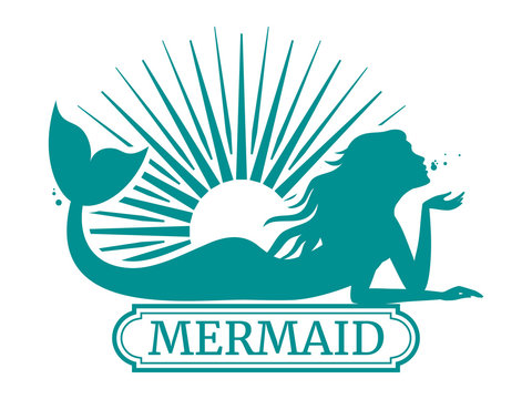 Mermaid silhouette and sun label design