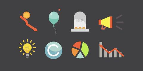 Token ICO vector illustration and blockchain technology icons.