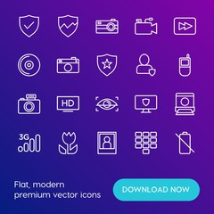 Modern Simple Set of mobile, security, video, photos Vector outline Icons. Contains such Icons as  lens,  camera, hd, network,  wireless and more on gradient background. Fully Editable. Pixel Perfect.