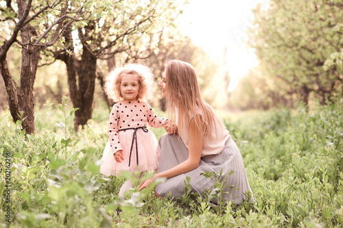 Happy Mother With Smiling Kid Girl 2 3 Year Old Posing Outdoors Motherhood Maternity