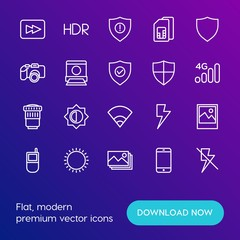 Modern Simple Set of mobile, security, video, photos Vector outline Icons. Contains such Icons as  data,  shield, lightning,  landscape and more on gradient background. Fully Editable. Pixel Perfect.