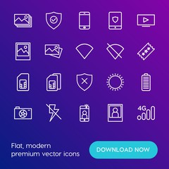 Modern Simple Set of mobile, security, video, photos Vector outline Icons. Contains such Icons as technology,  photo,  wireless,  summer and more on gradient background. Fully Editable. Pixel Perfect.