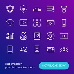 Modern Simple Set of mobile, security, video, photos Vector outline Icons. Contains such Icons as  communication,  safety,  shot,  eye and more on gradient background. Fully Editable. Pixel Perfect.