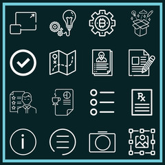 Set of 16 interface outline icons