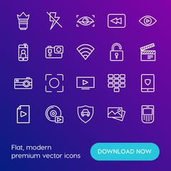 Modern Simple Set of mobile, security, video, photos Vector outline Icons. Contains such Icons as  objective,  off,  background, lens and more on gradient background. Fully Editable. Pixel Perfect.