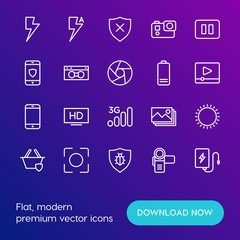 Modern Simple Set of mobile, security, video, photos Vector outline Icons. Contains such Icons as  cameraman, hd,  disabled,  quality and more on gradient background. Fully Editable. Pixel Perfect.