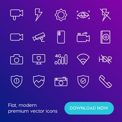Modern Simple Set of mobile, security, video, photos Vector outline Icons. Contains such Icons as  technology,  off, hdr,  photo,  lens and more on gradient background. Fully Editable. Pixel Perfect.