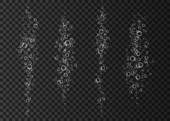Effervescent drink  bubbles on dark background.