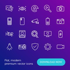 Modern Simple Set of mobile, security, video, photos Vector outline Icons. Contains such Icons as  video,  battery,  light,  flash,  old and more on gradient background. Fully Editable. Pixel Perfect.