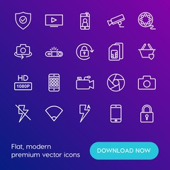 Modern Simple Set of mobile, security, video, photos Vector outline Icons. Contains such Icons as  button,  capture,  smartphone, play and more on gradient background. Fully Editable. Pixel Perfect.