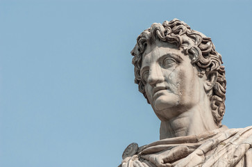 Photo sur Plexiglas Commemoratif Ancient marble statue of mythical character Castor or Pollux, dated back to the 1st century BC, located at the top of monumental balustrade in Capitoline Hill, in Rome (with copy space)
