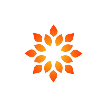 Template for creating a logo in the form of a curl. Stylized sun. Eco style icon. Round dynamic simple element.