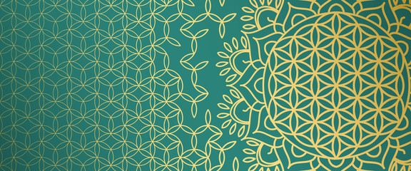 Beautiful gold pattern with symbols of sacral geometry on an emerald background.