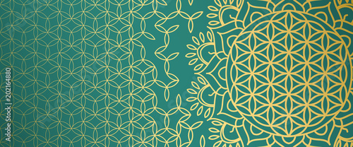 Beautiful Gold Pattern With Symbols Of Sacral Geometry On An Emerald Background