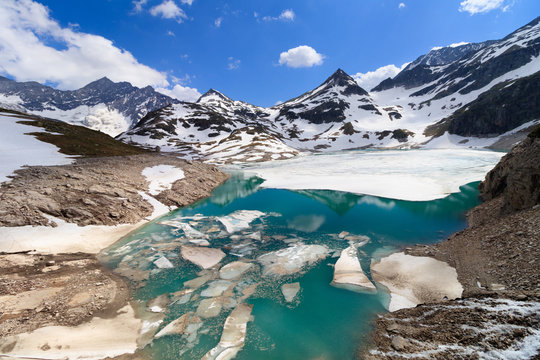 Melting snow and ice near a glacier in the alps due to global warming