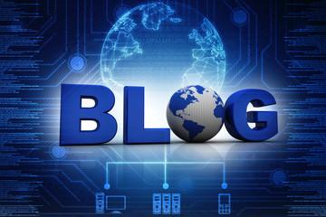 3d blog On-line illustration with globe