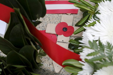Remembrance cross is seen on the cenotaph after a service to mark the 100th anniversary of ANZAC landings at Gallipoli, at the Pieta Military Cemetery in Pieta, Malta