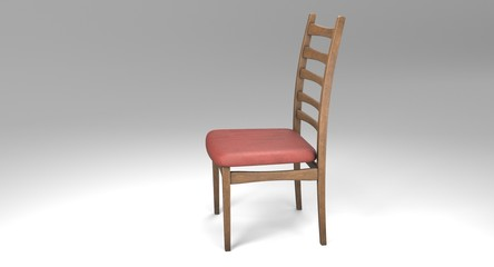 3D rendering - retro wooden chair with a saddle covered with a red cloth isolated on white background.