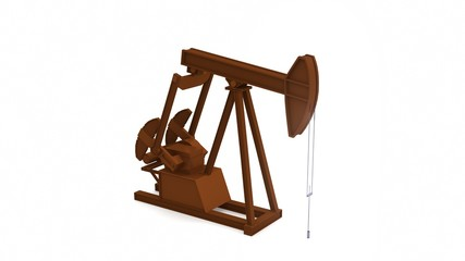 Oil pump energy industrial machine on white background for design. 3D rendering