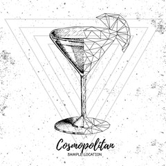 Hipster realistic and polygonal cocktail cosmopolitan on grunge background