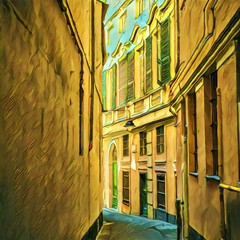 Old vintage italian street view. Big size oil painting pictorial art. Modern impressionism drawing artwork. Creative artistic print for canvas or textile. Wallpaper, poster or postcard design.