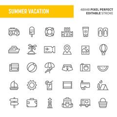 Summer Vacation Vector Icon Set