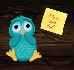 Cute owlet dreams of the present. Owl thought. Greeting card wit