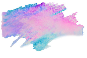 Color, blue - pink splash watercolor painted, artistic decoration, isolated on white background