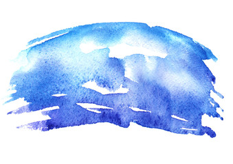 Watercolor blue background, blot, blob, splash of blue paint on white background.