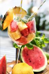 Fresh fruit cocktail in summer
