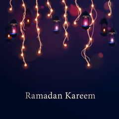 Ramadan Kareem with lantern and Abstract lights vector with blurred bokeh lights in the background.