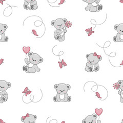 Seamless pattern with cute cartoon Teddy bears. Vector background for kids design. Baby print.