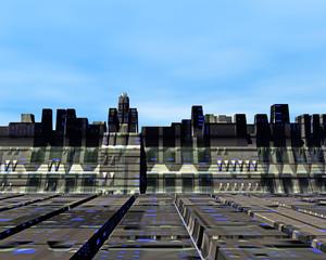 Gebäude auf fremden Planeten