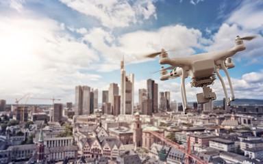 Drone over Frankurt Skyline