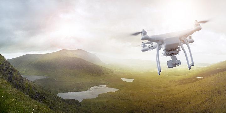 Drone flying over wonderful landscape