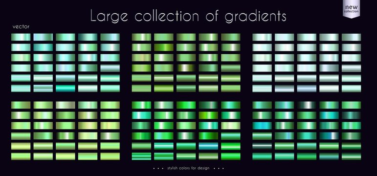 Green Emerald Turquoise collection of gradients Large set of fashion palettes Vector template