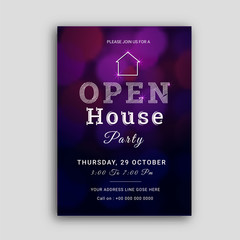 Open house party invitation card design.