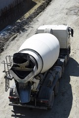 Truck concrete mixer, the view from the top