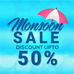 Monsoon Sale concept with umbrella and discount upto 50% off offer on rain drops background.