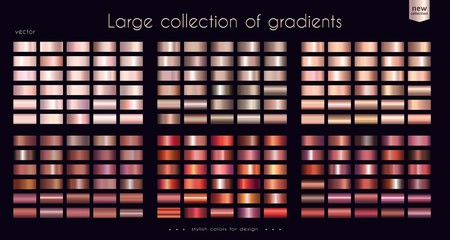 Copper bronze red collection of gradients Large set of fashion palettes Vector template