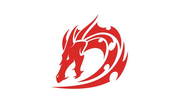 Dragon Tribal Tattoo initial D logo design inspiration