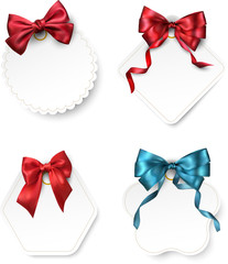 White paper card templates with satin bow.