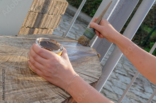 Hand Pinsel Farbe Holz Streichen Lassieren Stock Photo And Royalty