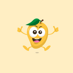 Illustration of cute happy mango mascot recommends with big smile isolated on light background. Flat design style for your mascot branding.
