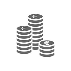 Euro coin stack icon. Coins stacks icon, pile of euros coins.