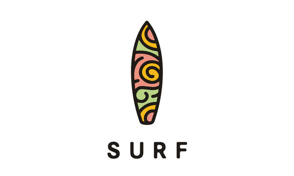 Surfboard with Hawaiian abstract motif Surf logo design inspiration