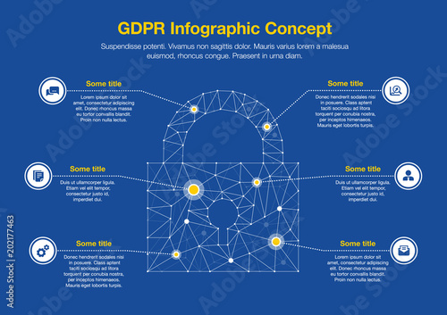 European Gdpr Infographic Concept With Padlock Symbol Made From