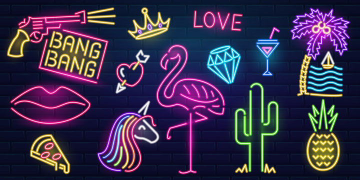 Set of fashion neon sign. Night bright signboard, Glowing light banner. Summer logo, emblem. Club or bar concept on dark background. Editable vector. Pink Flamingo cactus lips pizza cocktail pineapple