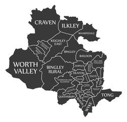 Bradford city map England UK labelled black illustration